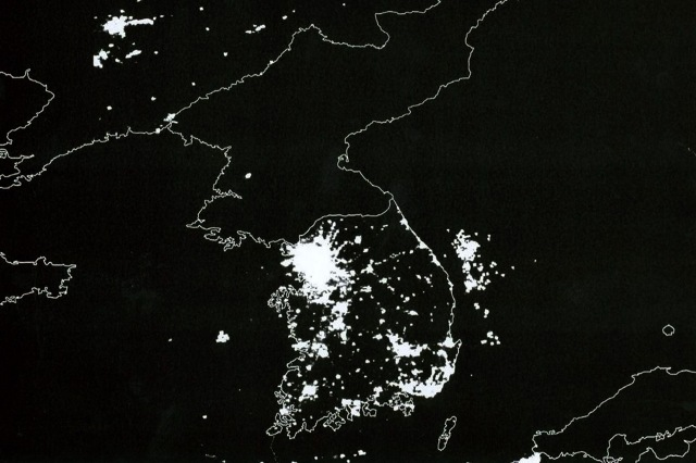 Corée du Nord la nuit
